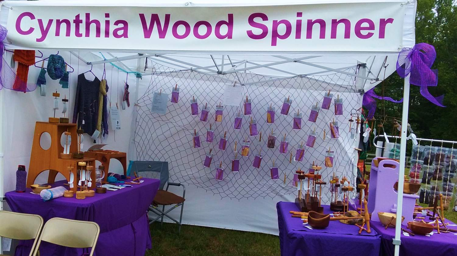 Cynthia's Cynthia Wood Spinner booth at Powhatan's Festival of Fiber 2017